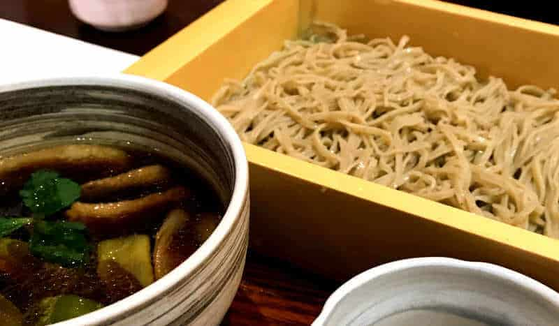 zaru soba with duck soup